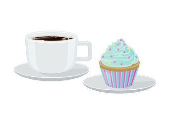 Cupcake and Coffee Poster Vector Illustration