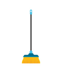 Floor brush isolated. Hand wiper besom Vector illustration.