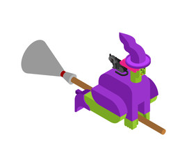 Witch on broom Isometrics. Halloween Vector illustration.