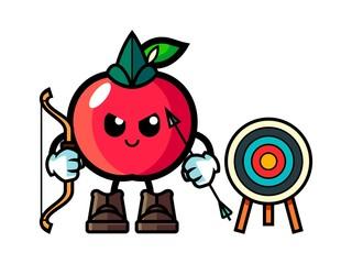 Apple hold bow mascot cartoon illustration