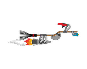 Witch broom racing Isolated. Broomstick Speeding turbo. Halloween Vector illustration.