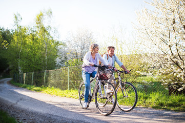 Senior couple with bicycles outside in spring nature.
