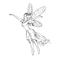 Beautiful young fairy dancing and flying in wind, hand drawn outline doodle sketch, black and white vector illustration