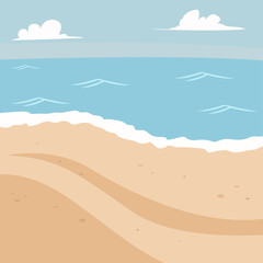 Summer background with beach and sea. Vector cartoon landscape illustration.