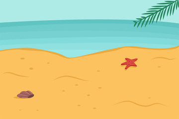 Summer background with beach, sea, palm leaf, starfish and seashell in the sand. Vector cartoon landscape illustration.