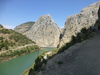 El caminito del Rey, paraje natural en el desfiladero de los Gaitanes, entre los términos de Ardales, Álora y Antequera, en  Málaga, comunidad autónoma de Andalucía, España