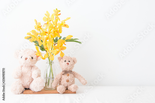 Couple Teddy Bear Take A Photo With Orchid Flower Vase Stock Photo