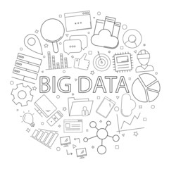 Vector big data pattern with word. Big data background