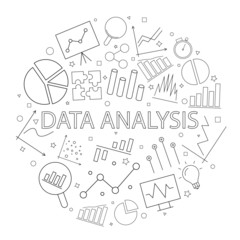 Vector data analysis pattern with word. Data analysis background
