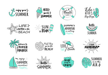 Summer vacations - collection of funny typography. Vector.