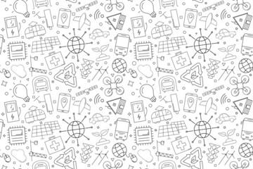 Vector Smart City pattern. Smart City seamless background