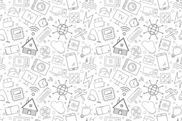 Vector Smart Home pattern. Smart Home seamless background