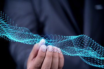 businessman hand holding virtual dot and line network connection