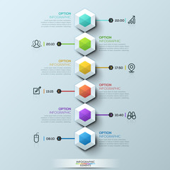 Six multicolored hexagons connected with text boxes and pictograms, infographic design template