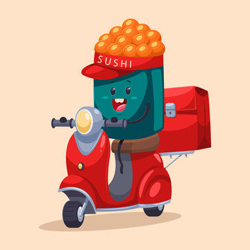 Sushi delivery. Funny food courier character on the scooter with a bag. Vector cartoon illustration isolated on background.