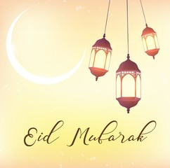 Eid Mubarak greeting background with beautiful illuminated arabic lamp