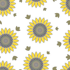 floral summer seamless pattern of sunflowers