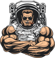 .Bodybuilder in an astronaut suit