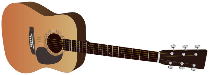 Realistic acoustic guitars. Vector