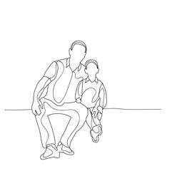 isolated, sketch family sitting