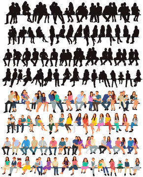 vector, isolated, set of sitting people, silhouette