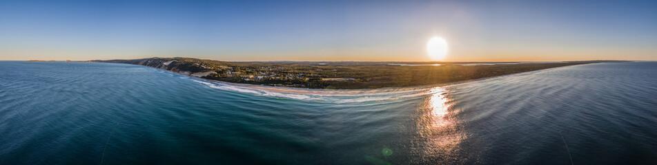 Rainbow Beach, Queensland / Australia - September 2016 - Aerial Panorama at Rainbow Beach during Sunset
