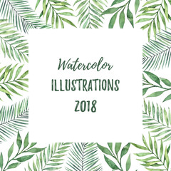 Watercolor frame with green leaves. Tropical summer design elements. Perfect for prints, posters, invitations, greeting cards, advertising, banner etc