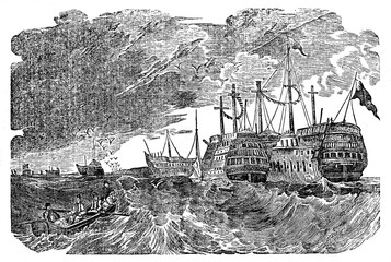 Prison ships (hulks), Britain (from Das Heller-Magazin, May 10, 1834)