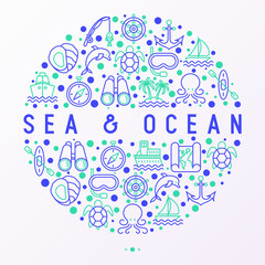 Sea and ocean journey concept in circle with thin line icons: sailboat, fishing, ship, oysters, anchor, octopus, compass, steering wheel, snorkel. Modern vector illustration, print media template