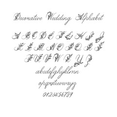 Vector Calligraphy Alphabet. Exclusive Floral Letters. Decorative handwritten brush font for: Wedding Monogram, Logo, Invitation.