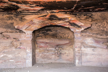 Inside underground royal tomb, Petra, Jordan