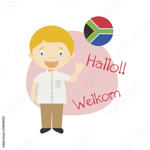 vector illustration of cartoon character saying hello and welcome in