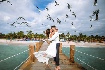 Seagulls fly over gorgeous wedding couple kissing on the wooden quay over the sea