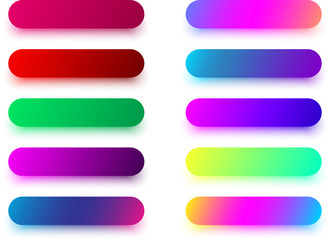 Colorful rounded button templates isolated on white.