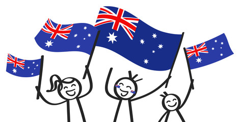 Cheering group of three happy stick figures with Australian national flags, smiling Australia supporters, sports fans isolated on white background