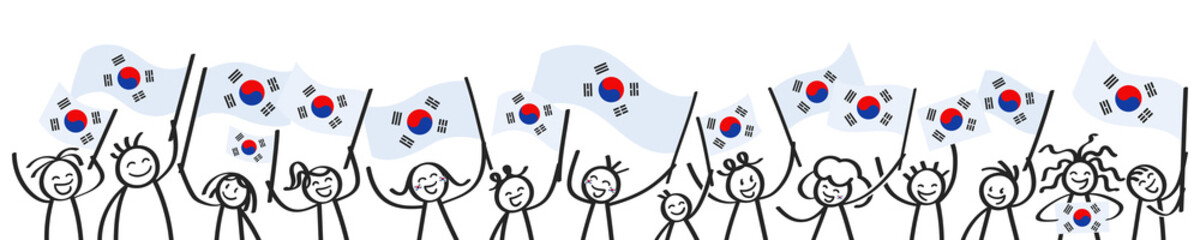 Cheering crowd of happy stick figures with South Korean national flags, smiling South Korea supporters, sports fans isolated on white background