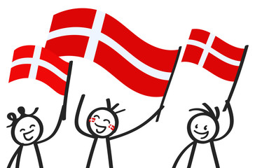 Cheering group of three happy stick figures with Danish national flags, smiling Denmark supporters, sports fans isolated on white background