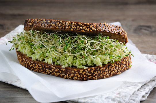 Sandwich with avocado and alfalfa sprouts