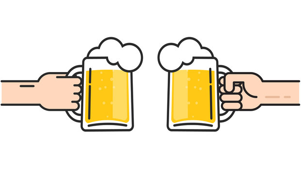 Two friends holding beer glasses with foam cheering, beer in hands toasting, concept of cheering party, flat line art design vector illustration isolated