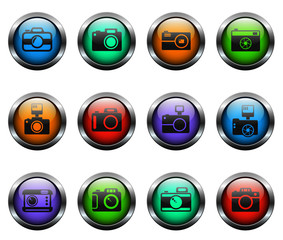 camera vector icons on color glass buttons