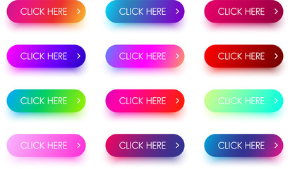 Bright colorful click here icons isolated on white.