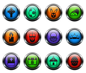 easter vector icons on color glass buttons