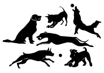 Set of cheerful dogs. Black isolated silhouettes on white background