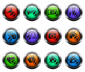 insurance vector icons on color glass buttons