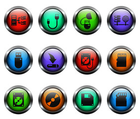 memory drives vector icons on color glass buttons