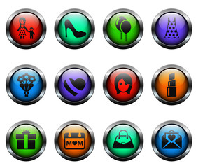 mother's day vector icons on color glass buttons
