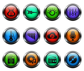 music vector icons on color glass buttons