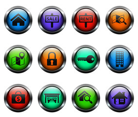 real estate vector icons on color glass buttons