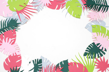 Palm Green Leaves Tropical Exotic Tree Isoalted on White Background. Square Image. Holliday Patern Template Leaf