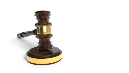 Court gavel on a white background, 3d rendering